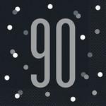 Luncheon Napkins-90th Birthday-Glitz Black and Silver-16pk-2ply