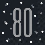 Luncheon Napkins-80th Birthday-Glitz Black-16pk-2ply