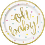 """Luncheon Paper Plates-Oh Baby-Gold-8pk-8 5/8"""""""