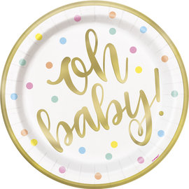 Luncheon Paper Plates-Oh Baby-Gold-8pk-8 5/8""