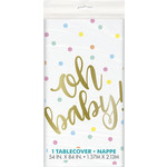 """Tablecover-Oh Baby!-Gold-Baby Shower-54"""" x 84"""""""
