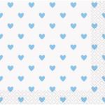 Beverage Napkins-Blue Hearts Baby Shower-16pk-2ply
