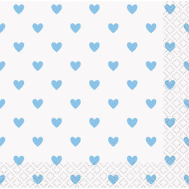 Beverage Napkins-Blue Hearts Baby Shower-16pk-2ply