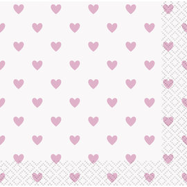 Beverage Napkins-Pink Hearts Baby Shower-16pk-2ply