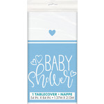 """Tablecover-Blue Hearts Baby Shower-54x84"""""""