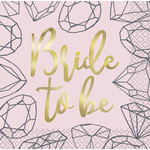 "Napkins-Beverage-""Bride to Be"" Pink Diamonds-16pc-2ply"