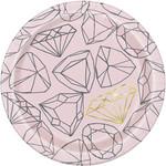 "Beverage Paper Plates-Pink Diamonds Bachelorette Party-8pk-6 3/4"""