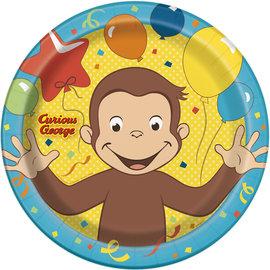 """Luncheon Paper Plates-Curious George-8pk-8 5/8"""""""