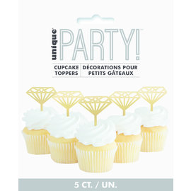 Cupcake Toppers-Gold-Diamond-5pk