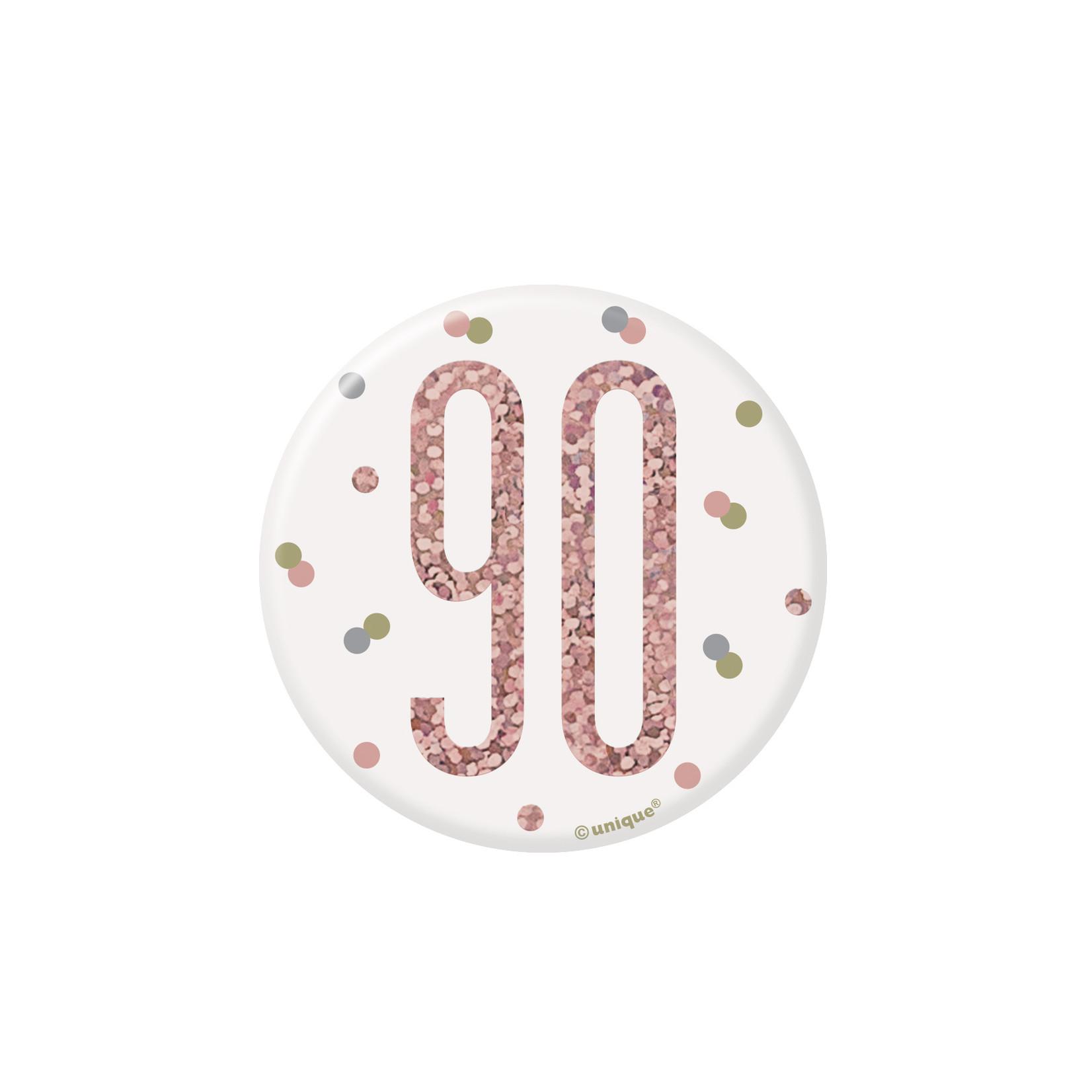 Badge-90th Birthday-Glitz Rose Gold-1ct