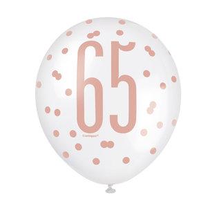 "Balloons-Latex-65th Birthday-Glitz Rose Gold-6pk-12"""