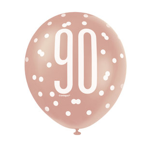 Balloons-Latex-90th Birthday-Glitz Rose Gold-6pk-12""