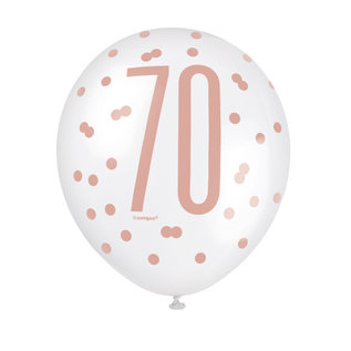 "Balloons-Latex-70th Birthday-Glitz Rose Gold-6pk-12"""
