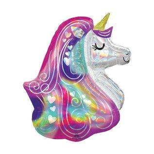 Foil Balloon-Iridescent Heart Unicorn Head