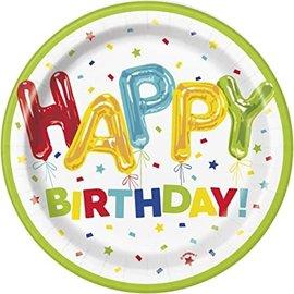 "Plates - BV -Happy Balloon Birthday - 8pk - 6 3/4"""