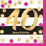 Beverage Napkins- Hot Stamped Pink & Gold 40