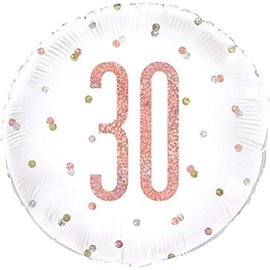 "Foil Balloon-Standard-30th Birthday-Glitz Rose Gold-18"""