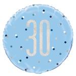 "Foil Balloon-Standard 18""-30th Birthday-Blue and Irid"