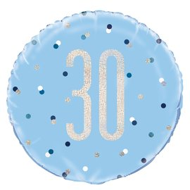 "Foil Balloon-Standard 18""-30th Birthday-Blue and Irid"
