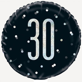 "Foil Balloon-Standard-30th Birthday-Glitz Black-18"""