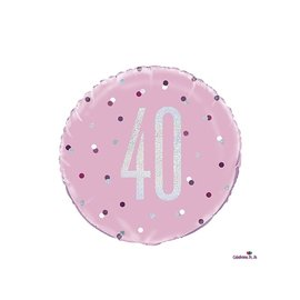 "Foil Balloon-Standard-40th Birthday-Glitz Pink-18"""