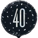 "Foil Balloon-Standard-40th Birthday-Glitz Black-18"""