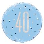 "Foil Balloon-Standard-40th Birthday-Glitz Blue-18"""