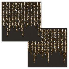 Napkins - BV - Gold Beading - 16pkg - 3ply