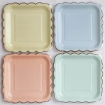 """Beverage Paper PLates-Assorted Scalloped-8pcs-7"""""""