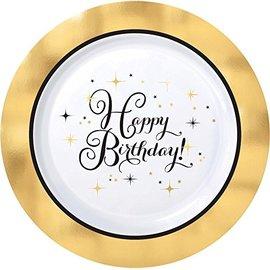 "Beverage Plates-Premium-Gold Birthday-Plastic-10pk/7.5"""