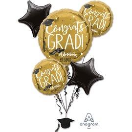 Foil Balloon-Congrats GRAD!-5pk Bouquet