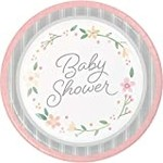 """Luncheon Paper Plates-Farmhouse Floral Baby-8pk-9"""""""