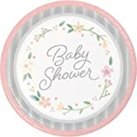 Luncheon Paper Plates-Farmhouse Floral Baby-8pk-9""
