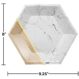 """Beverage Paper Plates-Hexagon-Marble and Wood-8pk-9"""""""