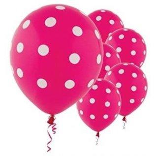 Balloon Latex Polka Dots Pink (6pk)