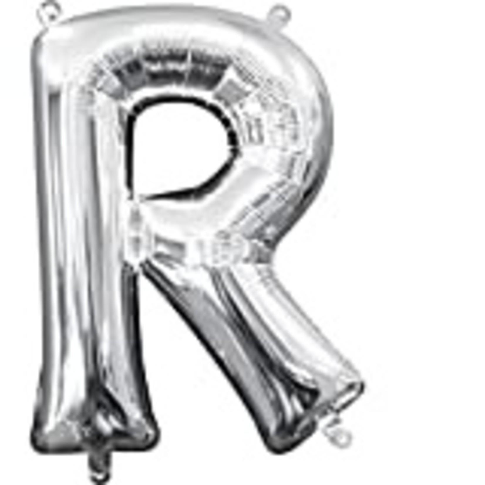 """Foil Baloon Air Filled - """"R"""" - Silver - 16"""""""