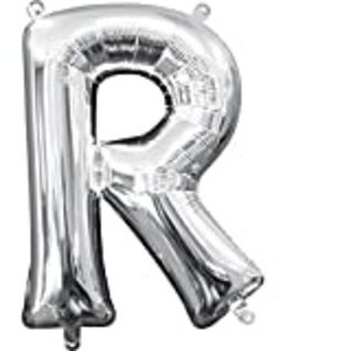 "Foil Baloon Air Filled - ""R"" - Silver - 16"""