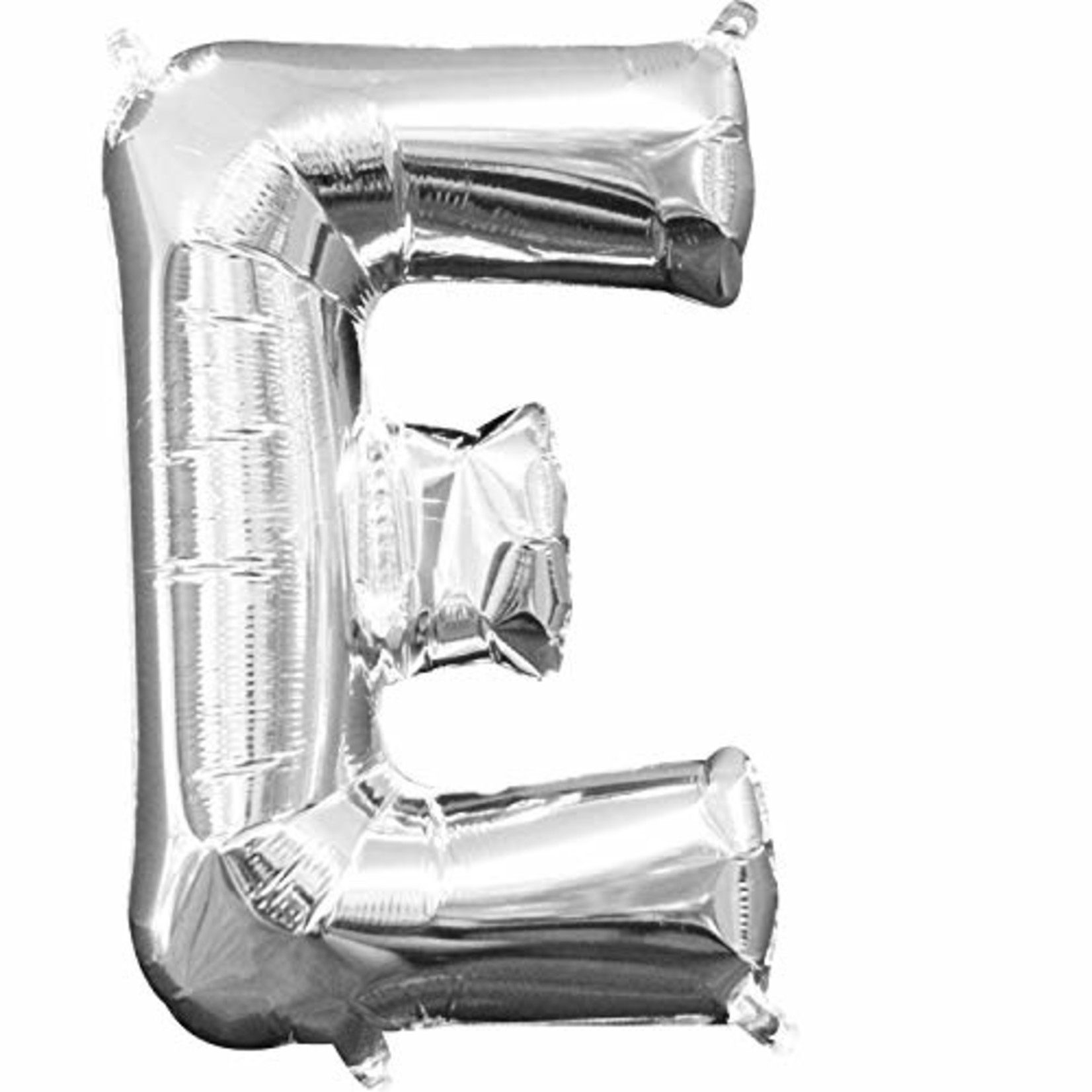 """Foil Baloon Air Filled - """"E"""" - Silver - 16"""""""