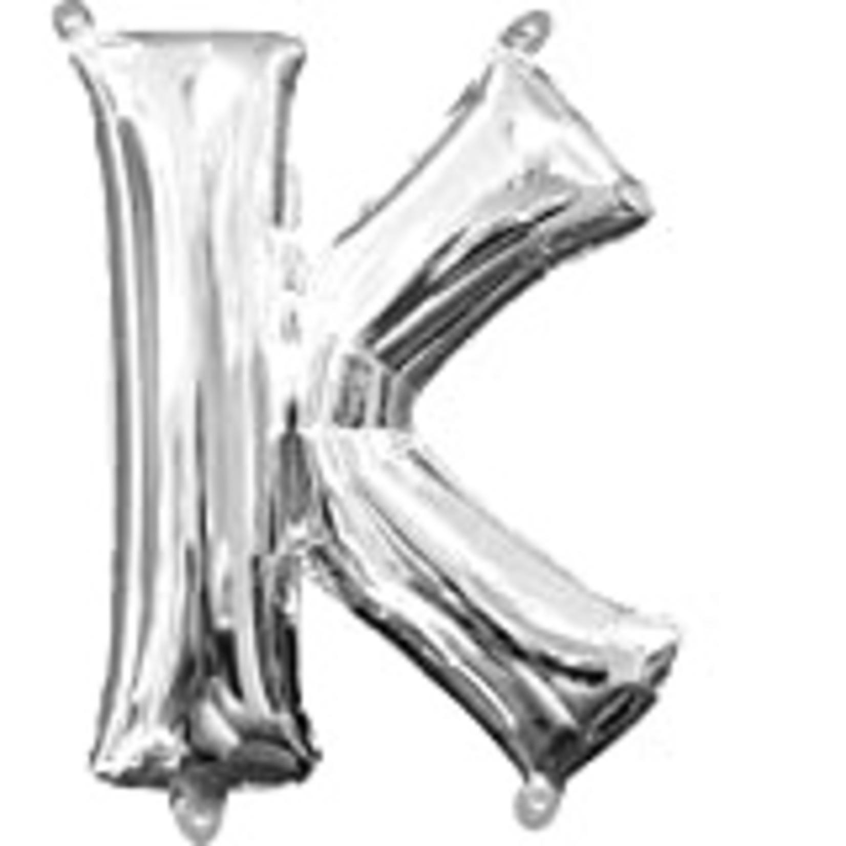 "Foil Baloon Air Filled - "" K "" - Silver - 16"""