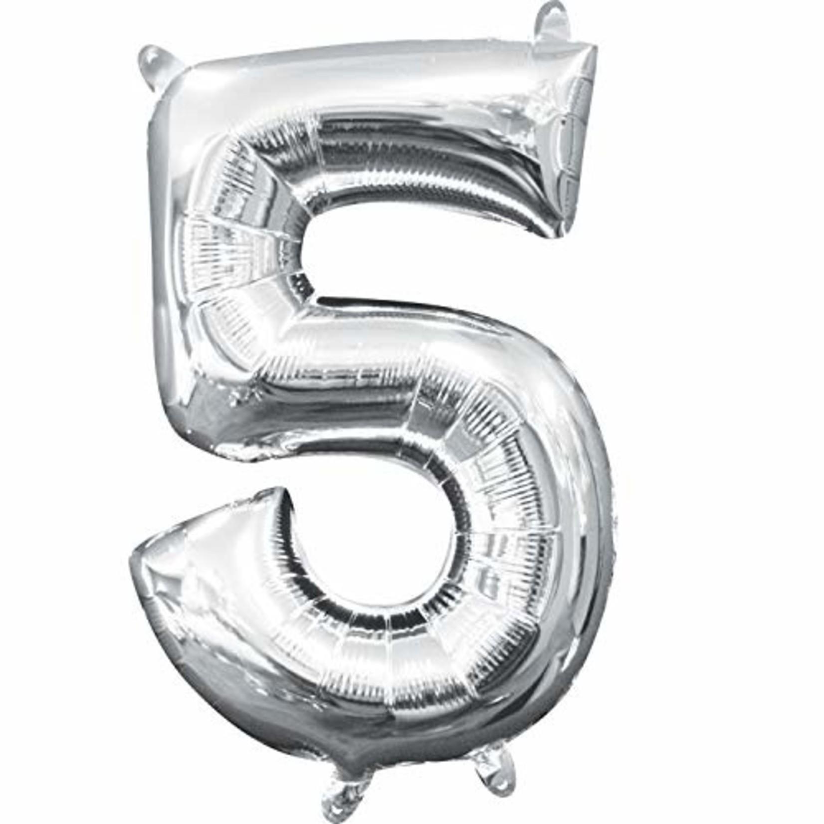 "Foil Baloon Air Filled - ""5"" - Silver - 16"""