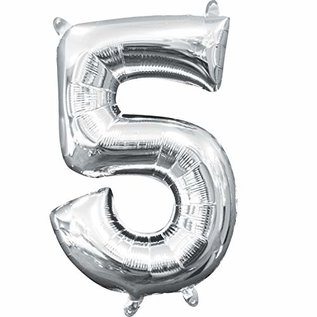 "Foil Baloon Air Filled - ""5"" - Silver - 16"""