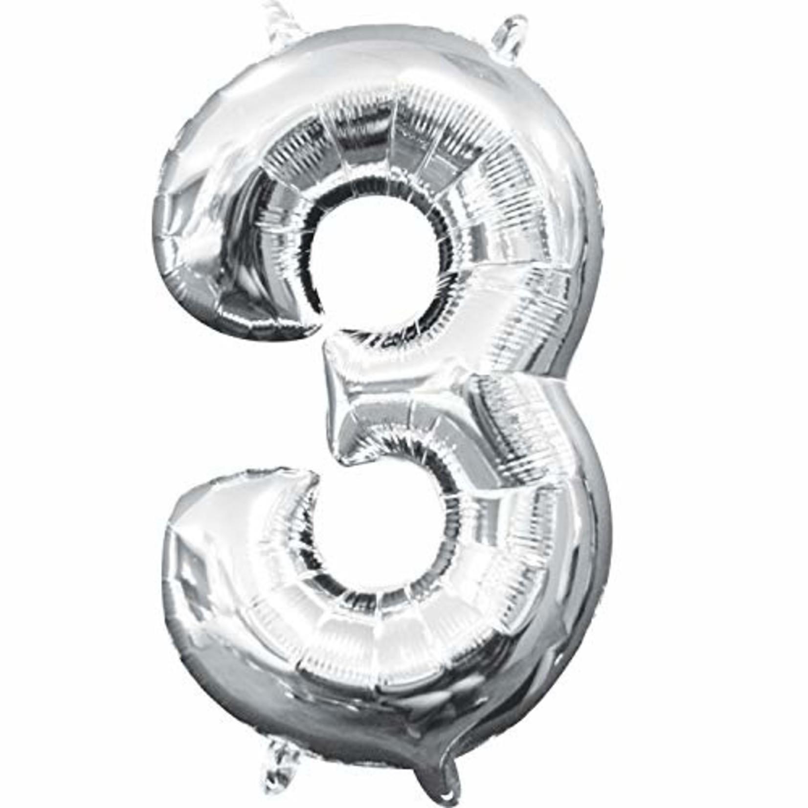 "Foil Baloon Air Filled - ""3"" - Silver - 16"""
