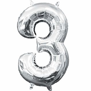"Foil Baloon Air Filled - ""3"" - Silver - 16"""