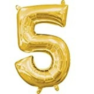 "Foil Balloon Air Filled - Number ""5"" - Gold - 16"""