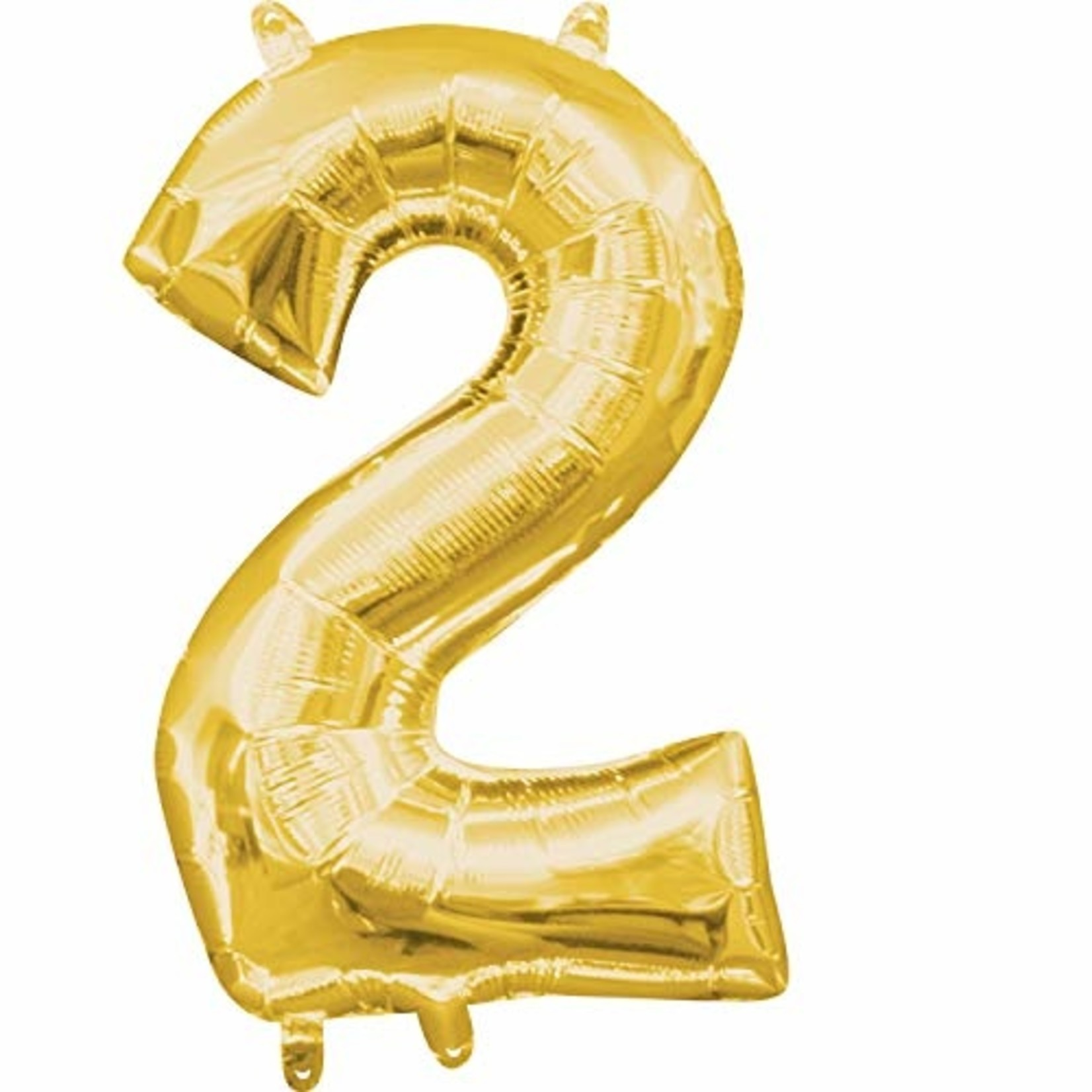 """Foil Balloon-Air Fill-Number """"2""""-Gold"""