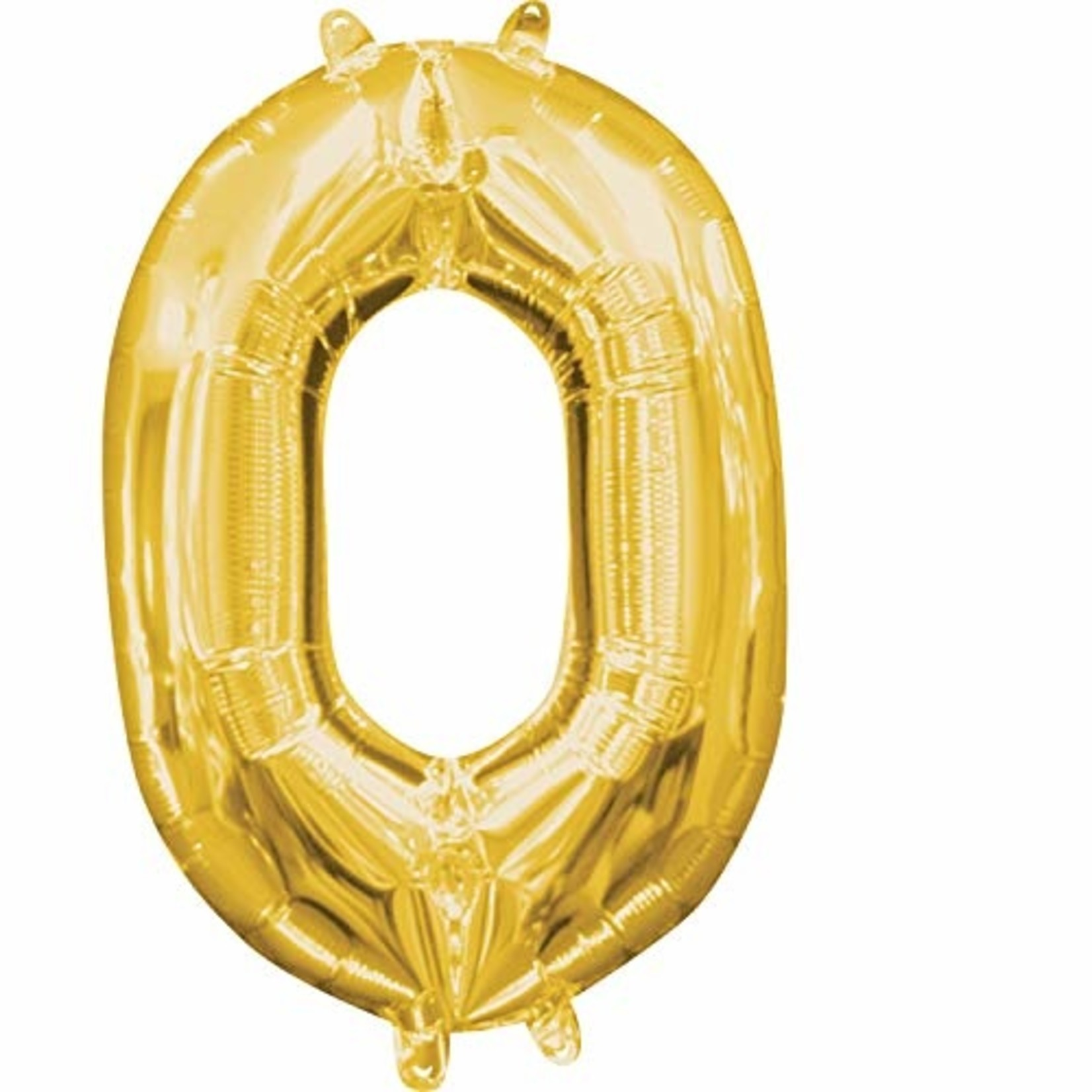 """Foil Baloon Air Filled - """"0"""" - Gold - 16"""""""