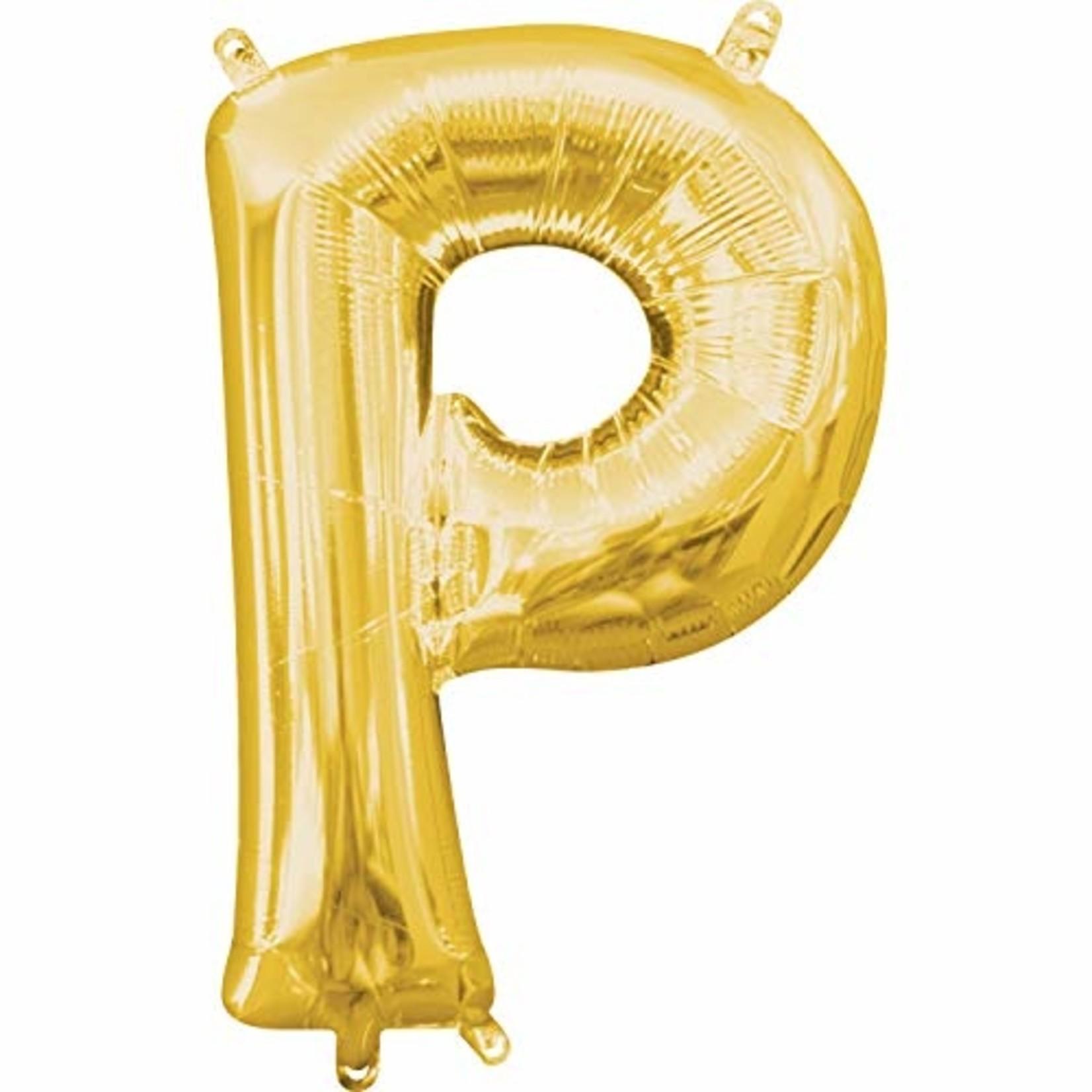 "Foil Balloon-Air Fill-Letter ""P""-Gold"