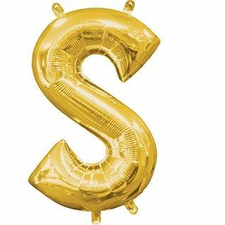 """Foil Ballon-Air Fill-Letter """"S""""-Gold"""