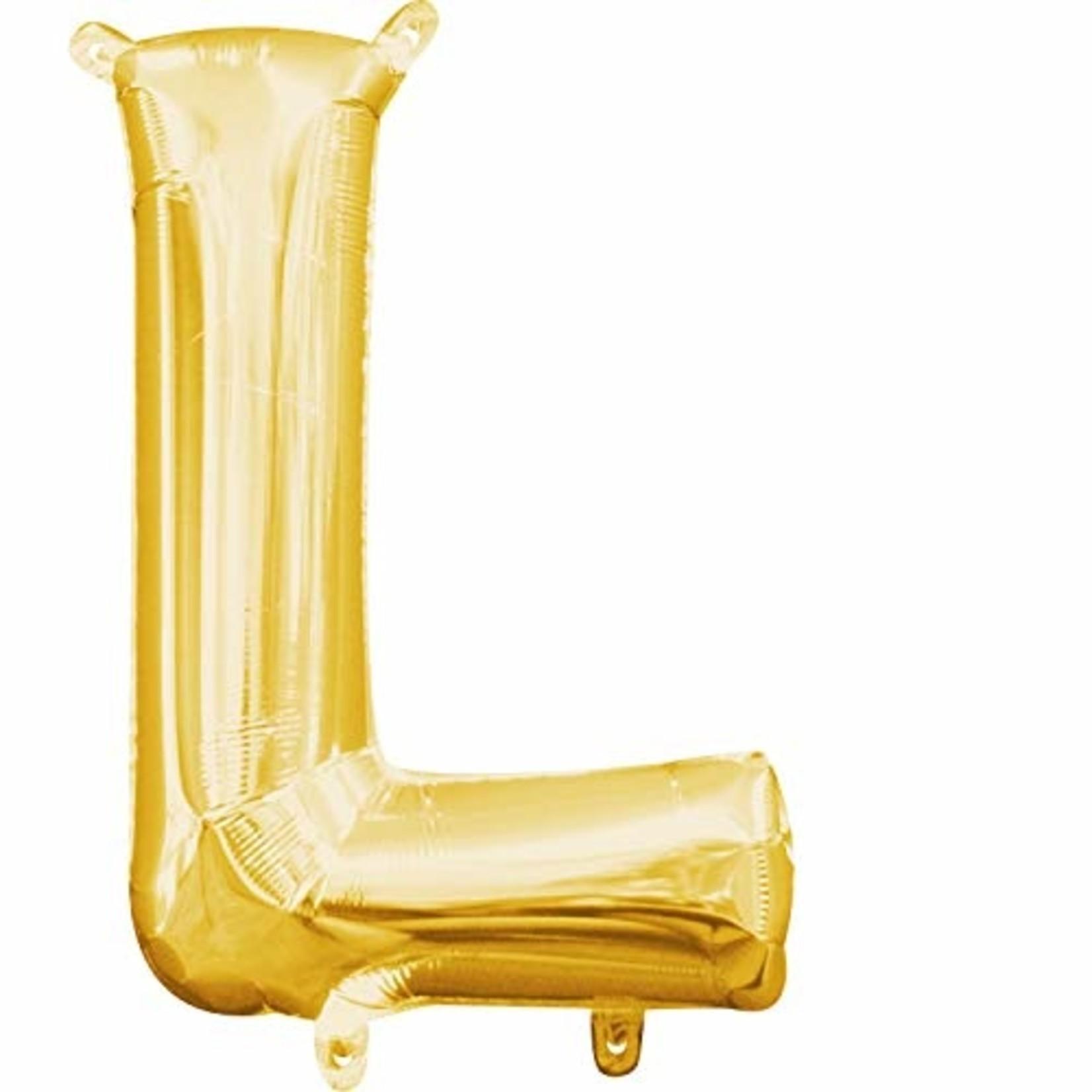 "Foil Baloon Air Filled - ""L "" - Gold - 16"""