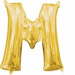 """Foil Balloon Air Filled - Letter """"M""""- Gold - 16"""""""